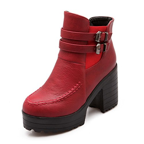 BalaMasa Ladies Wave Carved Pattern Bottom Studded Rhinestones Metal Buckles Imitated Leather Boots Red 0V9aK1NBx2
