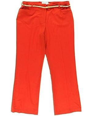 Calvin Klein Women's Flat Front Dress Pants, Red, 4P