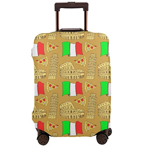 XINGxiangtao Italian Colosseum Pisa Tower Pizza Travel Suitcase Protector Zipper Suit Case Cover Washable 3D Printing Luggage Cover 18-32 Inch with Free Luggage Tag