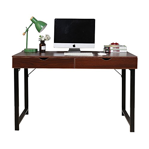 Glass Walnut Bookcase (Soges Computer Desk Writing Desk 47