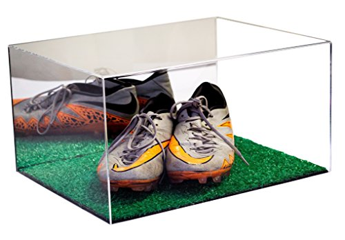 Deluxe Acrylic Cleat Shoe Display Case with Turf Floor and Mirror (A026-TB)
