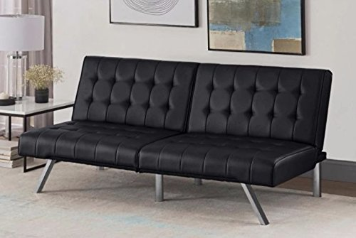 Futon Sofa Bed Set| Faux Leather |Black - Black Vinyl Futon Sofa
