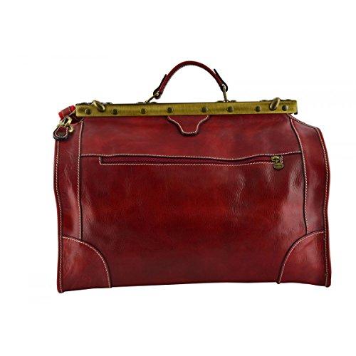 Borsa Viaggio In Vera Pelle Colore Rosso - Pelletteria Toscana Made In Italy - Borsa Viaggio