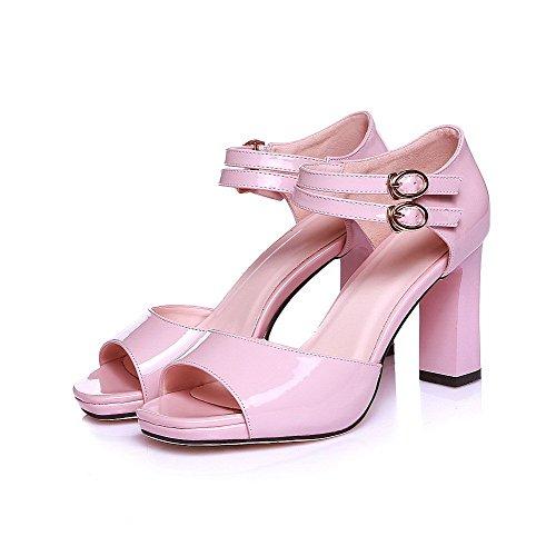 AllhqFashion Women's Peep Toe High-Heels Patent Leather Solid Buckle Sandals Pink yXFXLkx