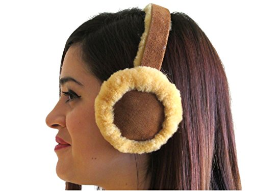 FursNewYork Chestnut Shearling Sheepskin Ear Muffs with Shearling Suede Covered Band