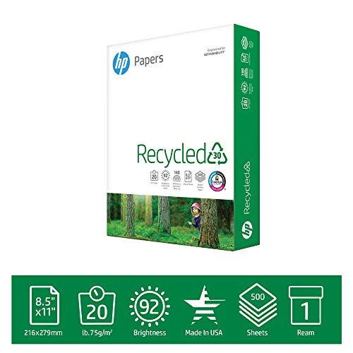HP Printer Paper Recycled30 20lb, 30% post-consumer recycled fiber, 8.5 x 11, 1 Ream, 500 Sheets, Made in USA, FSC Certified Resources, 92 Bright, Acid Free, Engineered for HP Compatibility, 112100R