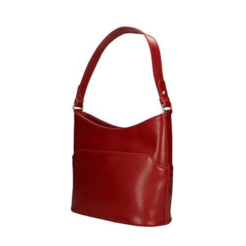 Femme 27x22x12 Épaule Shoulder Véritable Cuir In Aren En Cm Bag Sac Porté Italy Pour Rouge Made nwRngqYOI