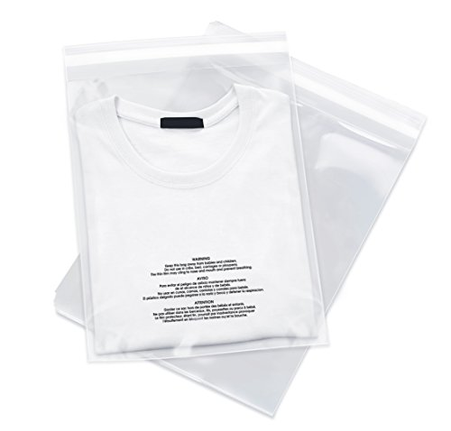 100 Count - 9 X 12 Self Seal 1.5 Mil Clear Plastic Poly Bags with Suffocation Warning - Permanent Adhesive by Spartan Industrial (More Sizes Available)