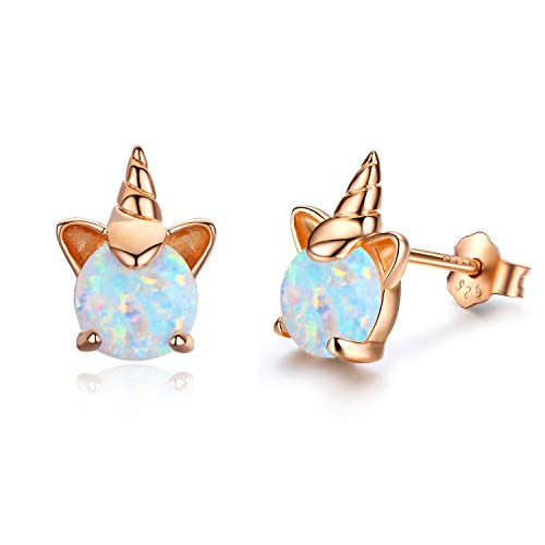 Hypoallergenic Unicorn Earrings S925 Sterling Silver Synthetic Opal Stud Cute Birthday Gift for Her (B)