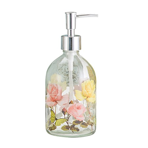 Glass Soap Pump Dispenser Floral and Butterfly 17 Ounce by A Ting]()