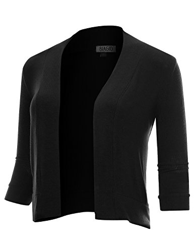BIADANI Women Classic 3/4 Sleeve Crop Cardigan Black ()