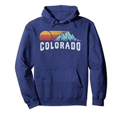 Unisex Retro Style Colorado Hoodie - Vintage Rocky Mountains & Sun Medium Navy
