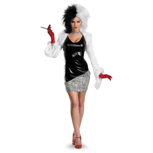 Disguise Women's Disney 101 Dalmatians Sassy Cruella Costume, Black/White, Medium -