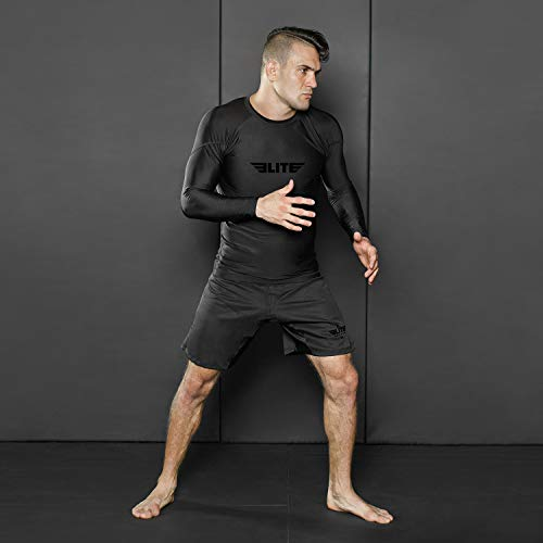 Elite Sports BJJ Jiu Jitsu Rash Guards, Men's BJJ, No GI, MMA Ranked Full Sleeve Compression Rash Guard (Black, XX-Large)