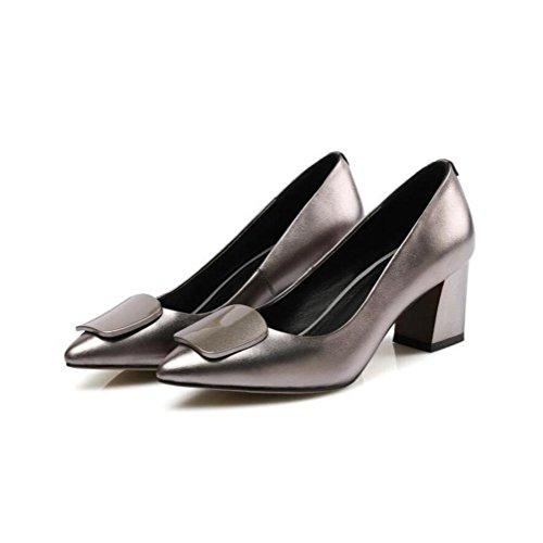 colors cuir mariage Chaussures femmes talons du imperméable cuir à au rugueux hauts gun en printemps banquet antidérapant célibataires véritable YWNC en Parti début 2018 de chaussures q4EdOd