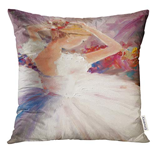 Golee Throw Pillow Cover Colorful Woman Oil Painting Ballerina White Ballet Dress Decorative Pillow Case Home Decor Square 18x18 Inches Pillowcase