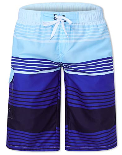 Leapparel 80s Men's Quick Dry Swim Trunks Colorful Stripe Summer Cool Bathing Suit Beach Board Short with Mesh Lining for Surfing Running Outdoor Sports L