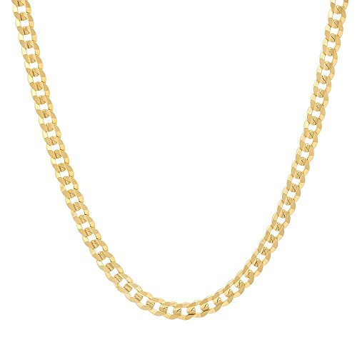 NYC Sterling Unisex 4mm Gold Plated Sterling Silver Flat Link Curb Chain, Made in Italy. (30 Inch) (Silver Flat Curb Chain)