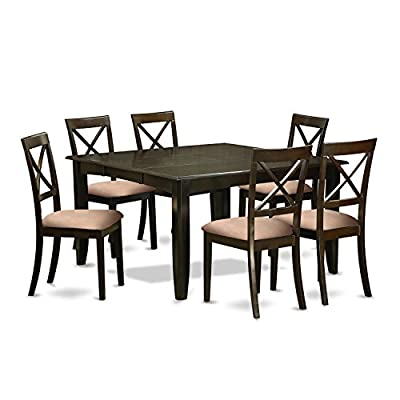 7 Pc Dining room set-Table with Leaf and 6 Kitchen Chairs. - Parfait 7 piece Set with square 54in gathering table and 6 Boston x Back microfiber upholstered Seat chairs Brand Set for dining room which crafted from all Asian hardwood. Simply no MDF, veneer, laminate utilized for Our goods. This amazing square dining room table Comes with an 18 inch self storing butterfly leaf that is stored right beneath table Top - kitchen-dining-room-furniture, kitchen-dining-room, dining-sets - 41iBTKzQsKL. SS400  -