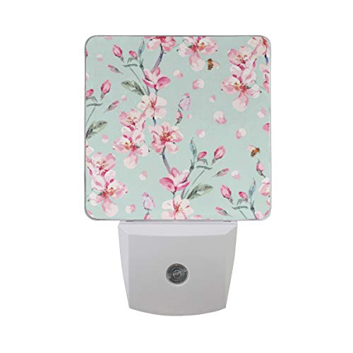 2 Pack Plug-in LED Night Light Cherry Blossom Peach Flower Garden Lamp with Dusk to Dawn Sensor for Hallway Bedroom from WaKaBlues