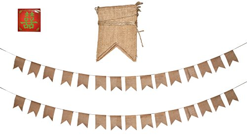 Mandala Crafts Babyshower Wedding Party Decoration Stringed Pennant Rustic Blank Burlap Fabric Pendant Banner Flags (Pennant, 30 PCs)