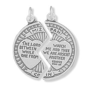 Amazon corinna maria 925 sterling silver mizpah coin pendant amazon corinna maria 925 sterling silver mizpah coin pendant 2 part comes with two split rings bead charms jewelry aloadofball Image collections