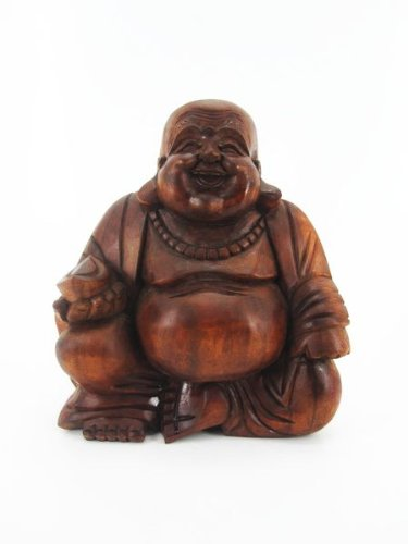 32 Bali Sitting Happy Buddha Statue 20 cm Solid Wood Carving Brown