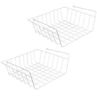 Evelots Pack Of 2 Under Shelf Wire Rack Kitchen Organizer Basket Storage Bins