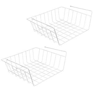 Evelots Under Shelf Basket Wire Rack,White,Slides Under Shelves For Storage, 2