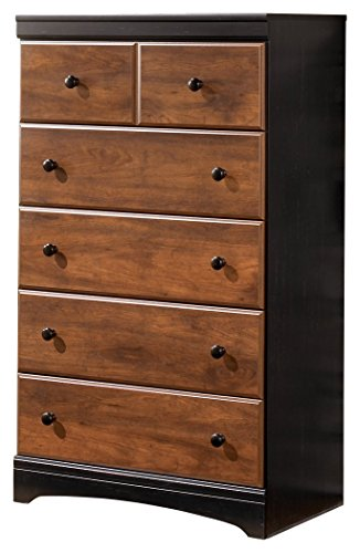 Ashley Furniture Signature Design - Aimwell Chest of Drawers - Two Tone Style Dresser - 5 Drawer - Dark Brown