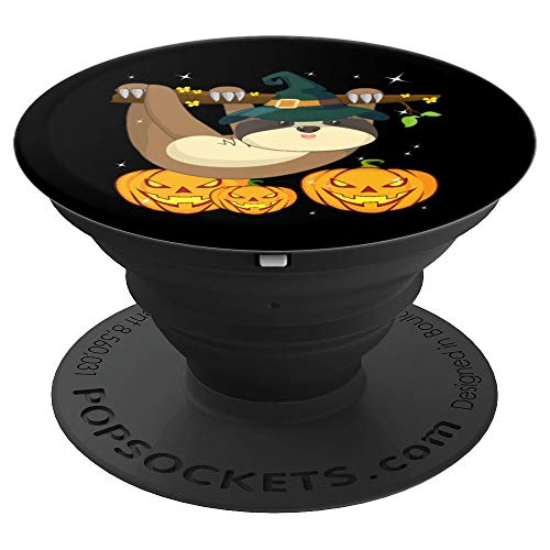 Cute Lazy Sloth Witch Halloween Pumpkin jack o'lantern  PopSockets Grip and Stand for Phones and Tablets