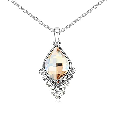 Daesar Gold Plated Women's Rhombic Necklace Rhinestone CZ Pendant Necklace for Women - Platinum Mobile Square