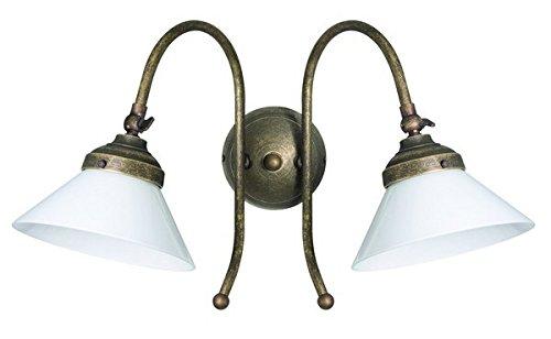 Applique in ottone a 2 luci antichizzato brunito paralume in vetro