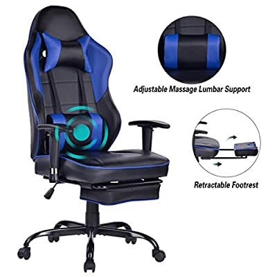 Blue Whale Gaming Chair Large Size Racing Recling PC Computer Gaming Chair Video Game Chair with Massager Lumbar Support and Retractible Footrest High Back PU Leather Office Desk Chair with Headrest