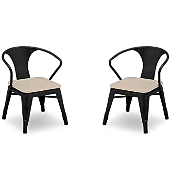 Image of Home and Kitchen Delta Children Bistro 2-Piece Chair Set, Black with Driftwood