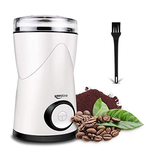 Coffee Grinder, Keenstone Electric Coffee Bean Grinder Mill Grinder with Noiseless Motor One Touch Design Home and Office Portable Use, Also for Spices, Pepper, Herbs, Nuts【Lifetime Warranty】