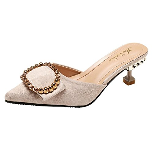 - DENER Women Ladies Girls Stiletto Pumps,Buckle Flock Open Back Slip on Pointed Toe Wide Width Comfortable Shoes Mules Sandals (Beige, 38)