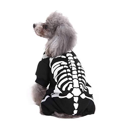 haoricu Cool Cute Pet Halloween Festival Cosplay Skeleton Costume Dog Pet Jupmsuit Clothing