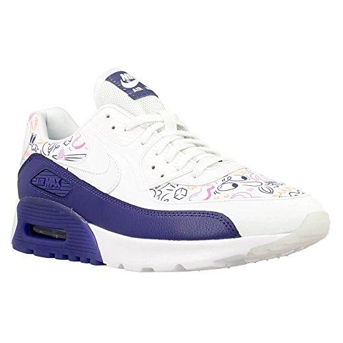 Nike W Air Max 90 Ultra Print, Zapatillas de Deporte para Mujer Blanco (White / White-Dk Purple Dust)