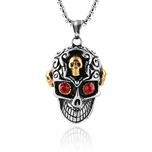 Sugar Skull Couple Costumes (HZMAN Stainless Steel Sugar Skull Pendant Necklace for Man with Blue Cubic Zirconia with 24 in Chain (Red))