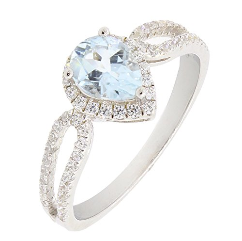 BL Jewelry Beautiful Sterling Silver Pear Cut Heart Shape Natural Aquamarine Ring w/Accent (2/3 CT.T.W) (9)