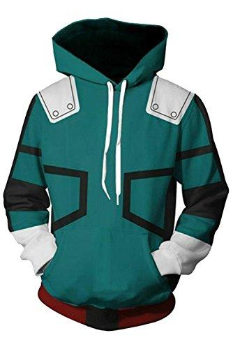 NoveltyBoy Boku No Hero Academia My Hero Academia Izuku Midoriya Hoodies Sweatshirt Cosplay Costume Battle Suit Jacket (XX-Large)