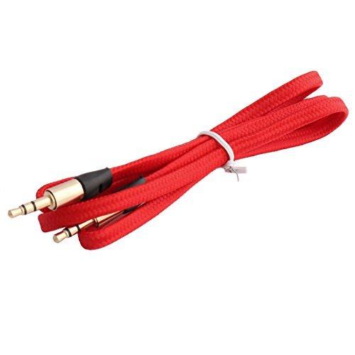 eDealMax radios de Los coches de Nylon DE 3,5 mm Macho a la cuerda del Cable de extensin Audio Masculino Plana Larga del 1M Rojo