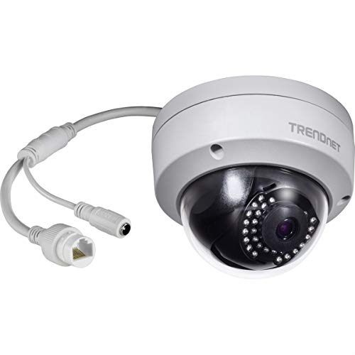 TRENDnet Indoor/Outdoor 1MP H.264 PoE IR Dome Network Camera, Night Visions up to 30m (98ft), IP67, Motion Detection, TV-IP325PI