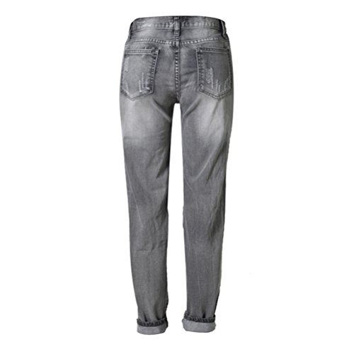 Zhhlinyuan Womens Personality Beggar Pants Big Hole Cowboy Long Pants High-end Smoke Gray Hermoso para mujeres Gray