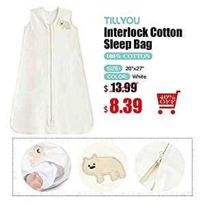 TILLYOU Cotton Collection Baby Wearable Blanket Sleeveless Sleeping Bag and Sack- Fits Infants Newborns Ages 0-6 Months, White Bear, Small S - Machine Washable, Super Soft, Unisex Design