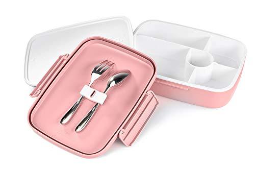 [해외]LS LifeStyle Bento Lunch Box 5 Compartments For Kids Adults Leakproof Microwave and Dishwasher Safe BPA Free Container (Fork + Spoon included) (Pink) / LS LifeStyle Bento Lunch Box 5 Compartments For Kids, Adults Leakproof, Microwa...