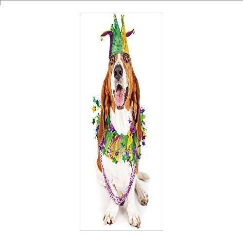 Decorative Privacy Window Film/Happy Smiling Basset Hound Dog Wearing a Jester Hat Neck Garland Bead Necklace Decorative/No-Glue Self Static Cling for Home Bedroom Bathroom Kitchen Office Decor Multic