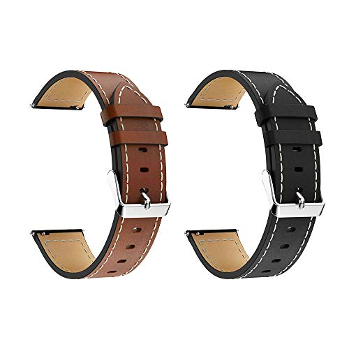 LDFAS Galaxy Watch 46mm Band, Genuine Leather Quick Release 22mm Watch Strap Compatible for Samsung Galaxy Watch 46mm, Gear S3 Frontier/Classic Smartwatch Brown/Balck (2 Pack)