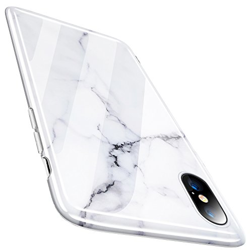 TORRAS Marble iPhone Xs Case/iPhone X Case, Ultra Slim Thin Glossy Soft TPU Rubber Gel Phone Case Cover Compatible with iPhone X/iPhone Xs(2018, 5.8''), White/Black from TORRAS